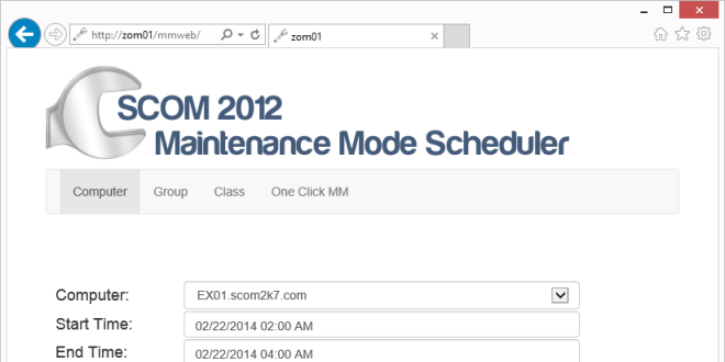 SCOM 2012 Maintenance Mode Scheduler