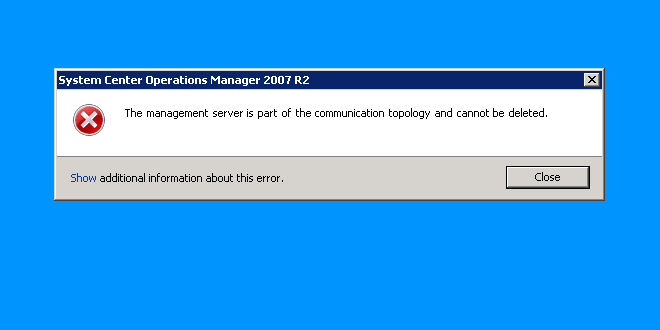 The management server is part of the communication topology and cannot be deleted