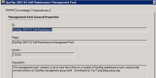 OpsMgr Self Maintenance Management Pack
