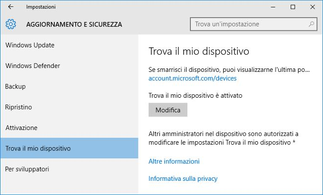 Trucchi per Windows 10: Trova il mio dispositivo