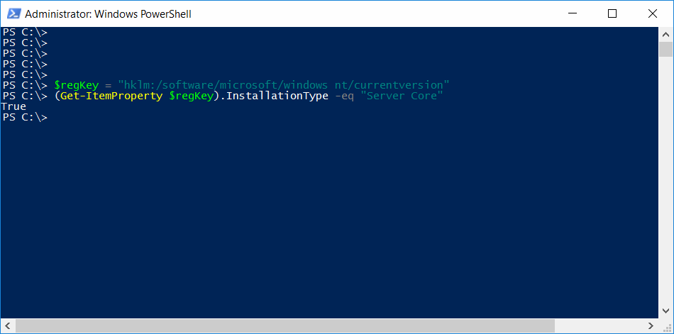 Verificare Windows Server Core Powershell
