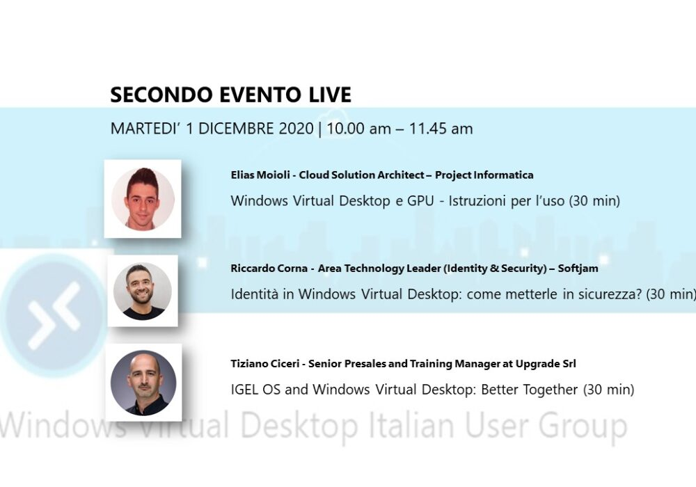 Windows Virtual Desktop Italian User Group Meetup 1 Dicembre 2020