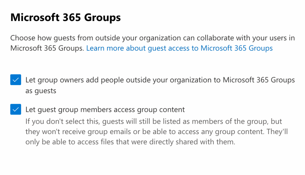 Guest access checklist: Microsoft 365 groups