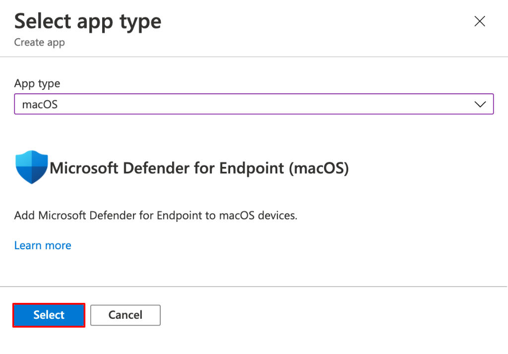 Selezione Microsoft Defender for Endpoint